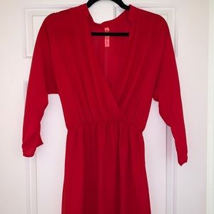 Red Mid Sleeve Dress